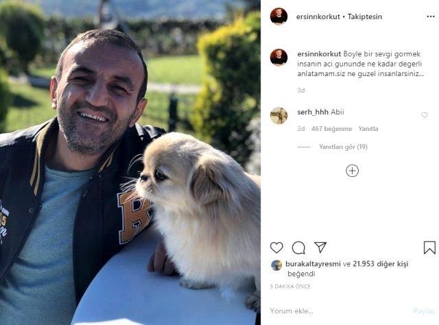 Köpeğinin öldüğünü öğrenen Ersin Korkut'tan ilk paylaşım: Acı günde böyle sevgi görmek çok güzel